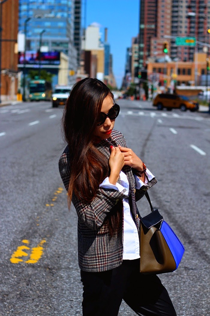 J.Crew Schoolboy blazer in houndstooth,celine edge bag,vans slipon, prada sunglasses,lovers+friends trackpants, streetstyle,nyc,schoolboy,shallwesasa,casual,chic,daniel wellington watch