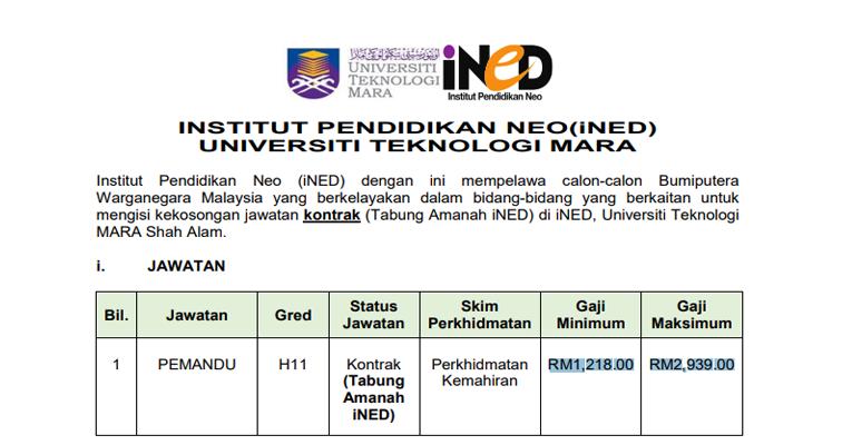 Jawatan Kosong di Institut Pendidikan Neo (iNED) UiTM