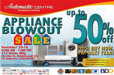 AUTOMATIC CENTRE: Appliance Blowout Sale November 10 - 16, 2014