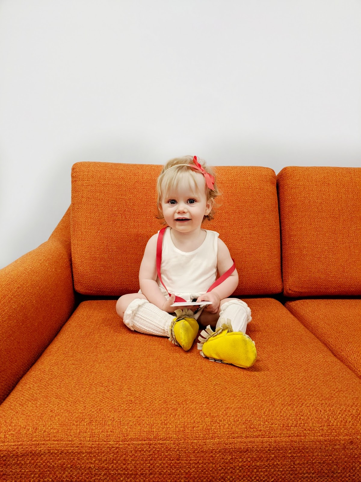baby Googler take your child kid to work day work badge couch retro orange 1 year old tech baby genius