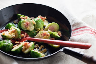 Brussels sprouts with bacon and pine nuts Recipe
