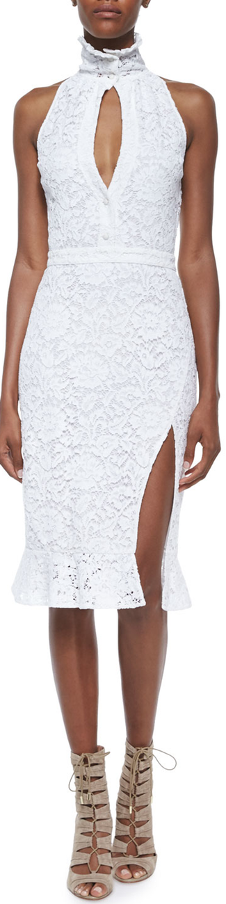 Altuzarra Lace Slit Ruffle-Collar Sheath Dress Natural