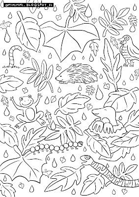A coloring page of leaves, rain and animals / Värityskuva sateesta, lehdistä ja eläimistä