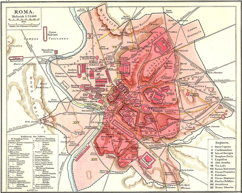 Almacén de clásicas: MAPA DE LA ANTIGUA ROMA (las siete colinas de Roma)
