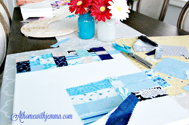 creating canvas art with fabric