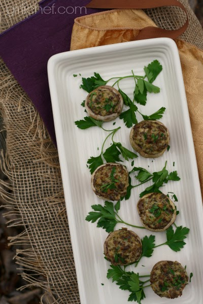 Stuffed Mushrooms {Vegan} from www.girlichef.com #spreadcheer