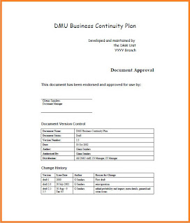 business continuity plan example pdf