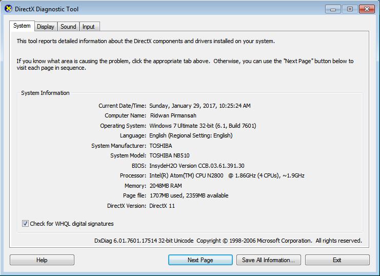 Melalui DirectX Diagnostic Tool (DXDIAG)