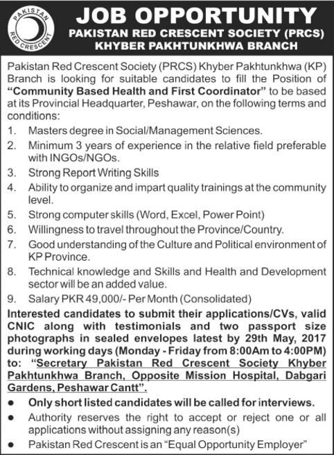 Jobs In Pakistan Red Crescent Society kpk 18 May 2017