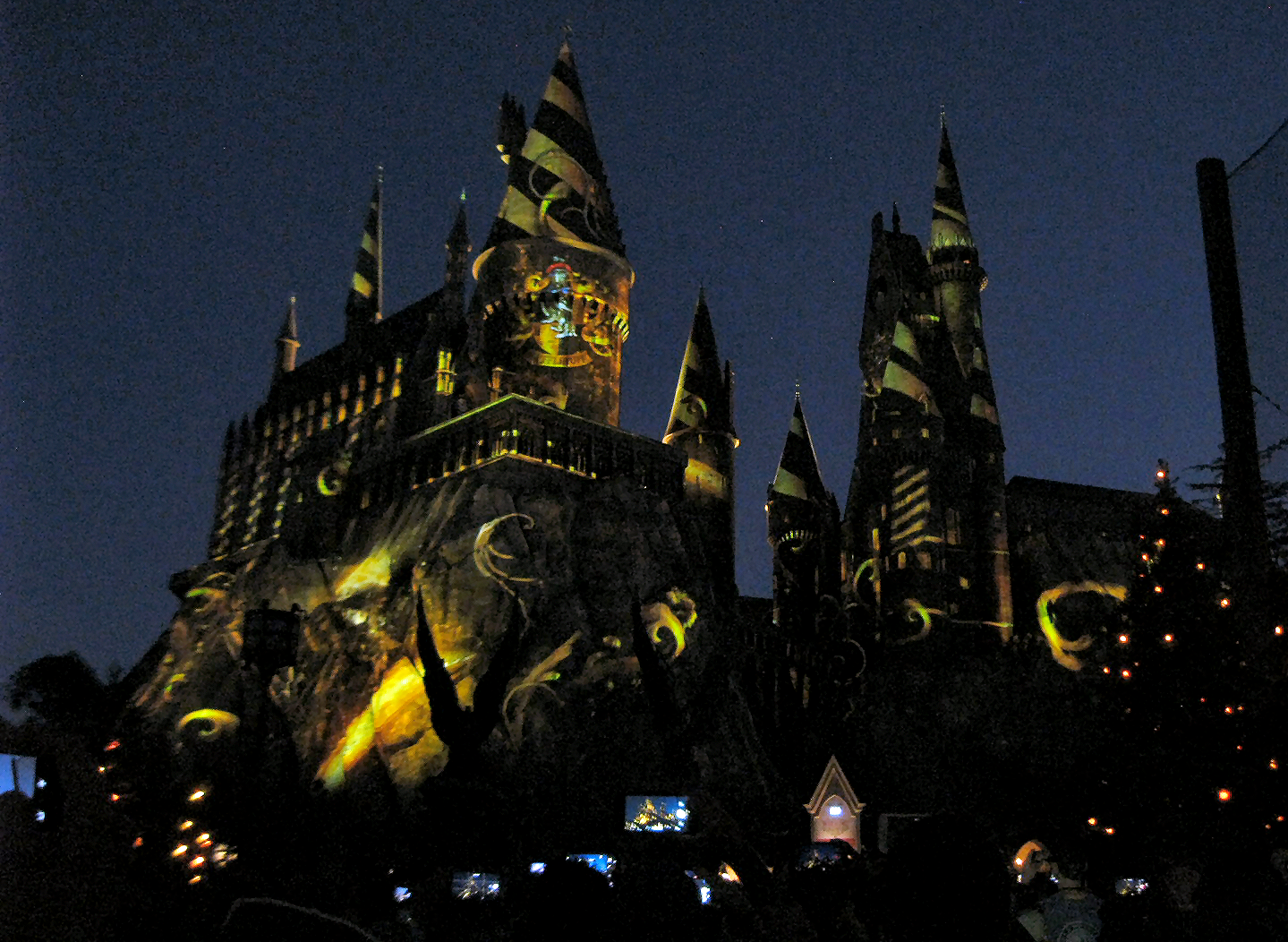 Nighttime Lights at Hogwarts Castle Hufflepuff