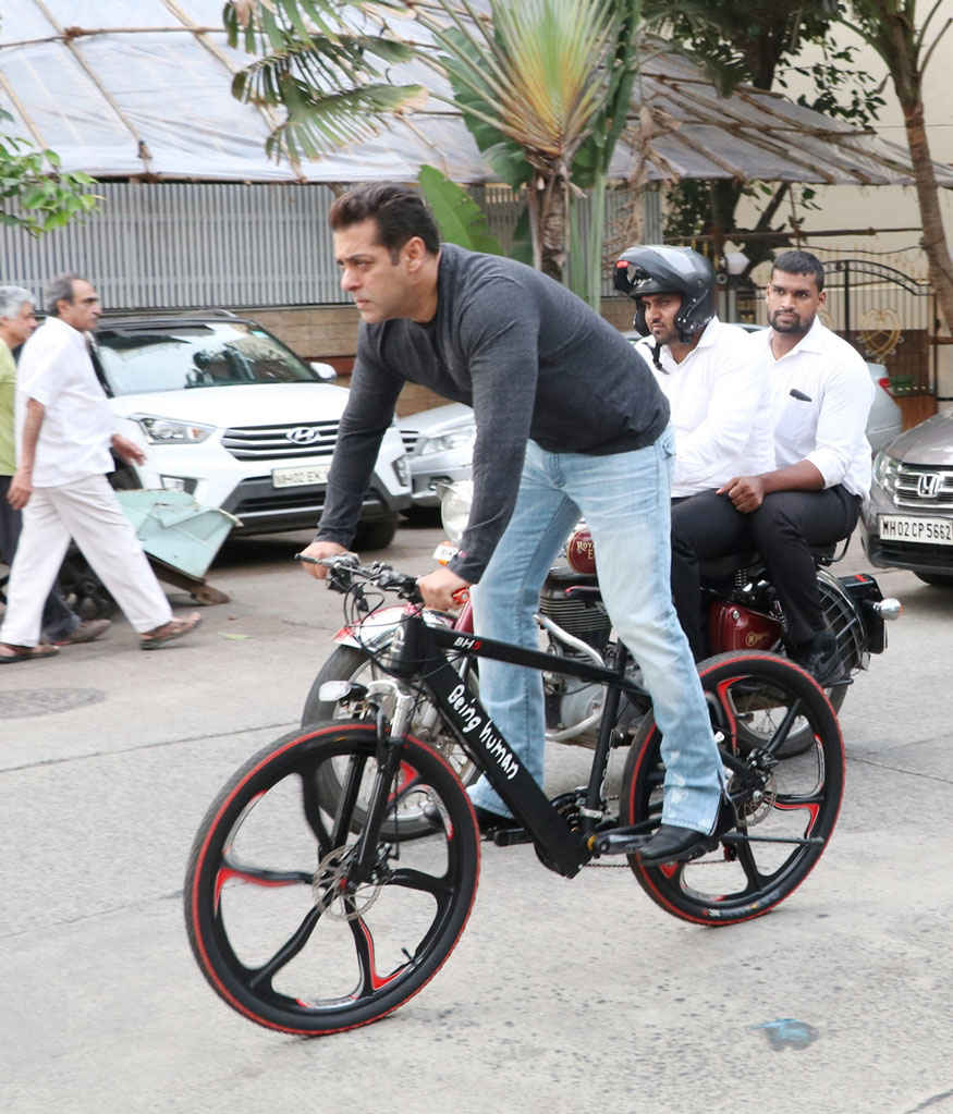 Salman Khan Riding Being Human E-Cycle on Streets of Bandra
