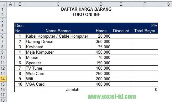 Membuat Daftar Harga Diskon Pada Excel 300 Rumus Excel