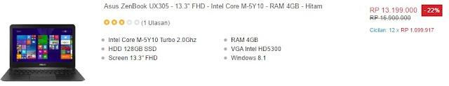 harga laptop asus zenbook ux305 lazada