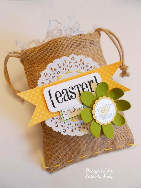 SRM Stickers Blog - Easter Bag and Tag by Roberta - #easter #bag #burlap #stickers #doilies #twine