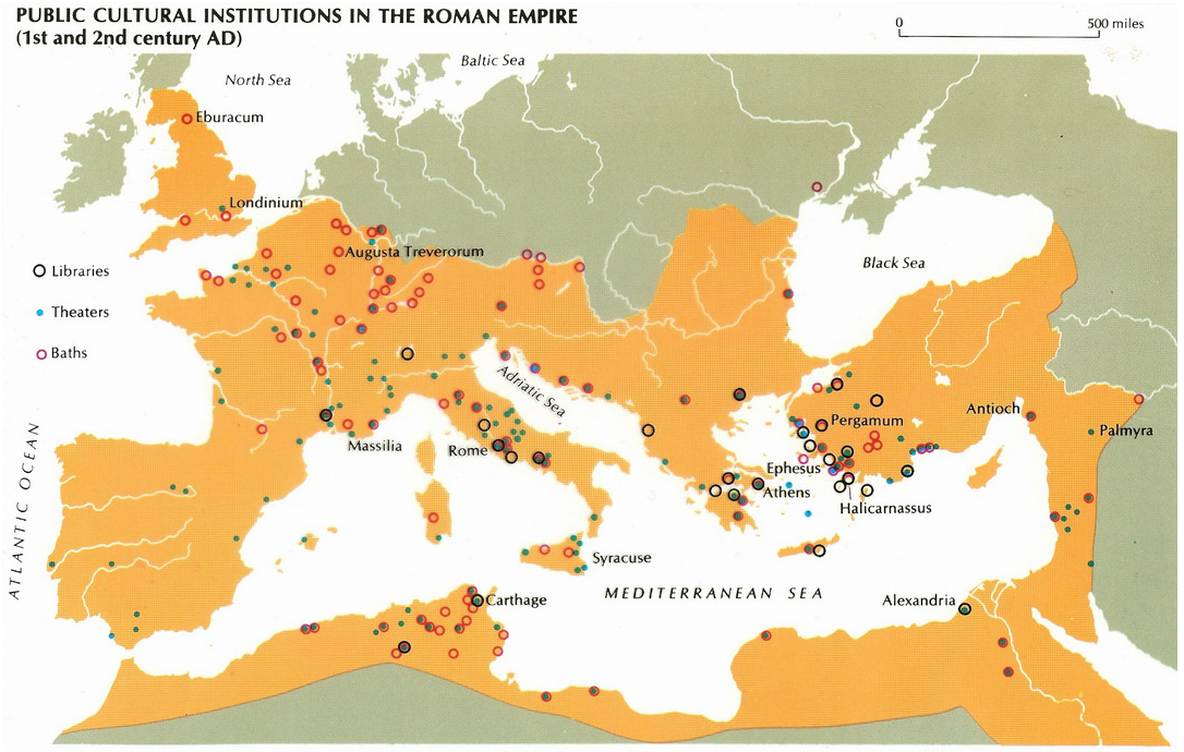 Theaters, Libraries and Baths in the Roman Empire