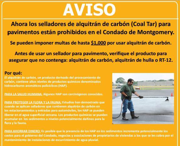 AVISO: First Known Spanish Information Piece for Maryland Coal Tar Sealant Ban