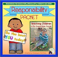 A responsibility teaching packet including printables, worksheets, posters, and activities