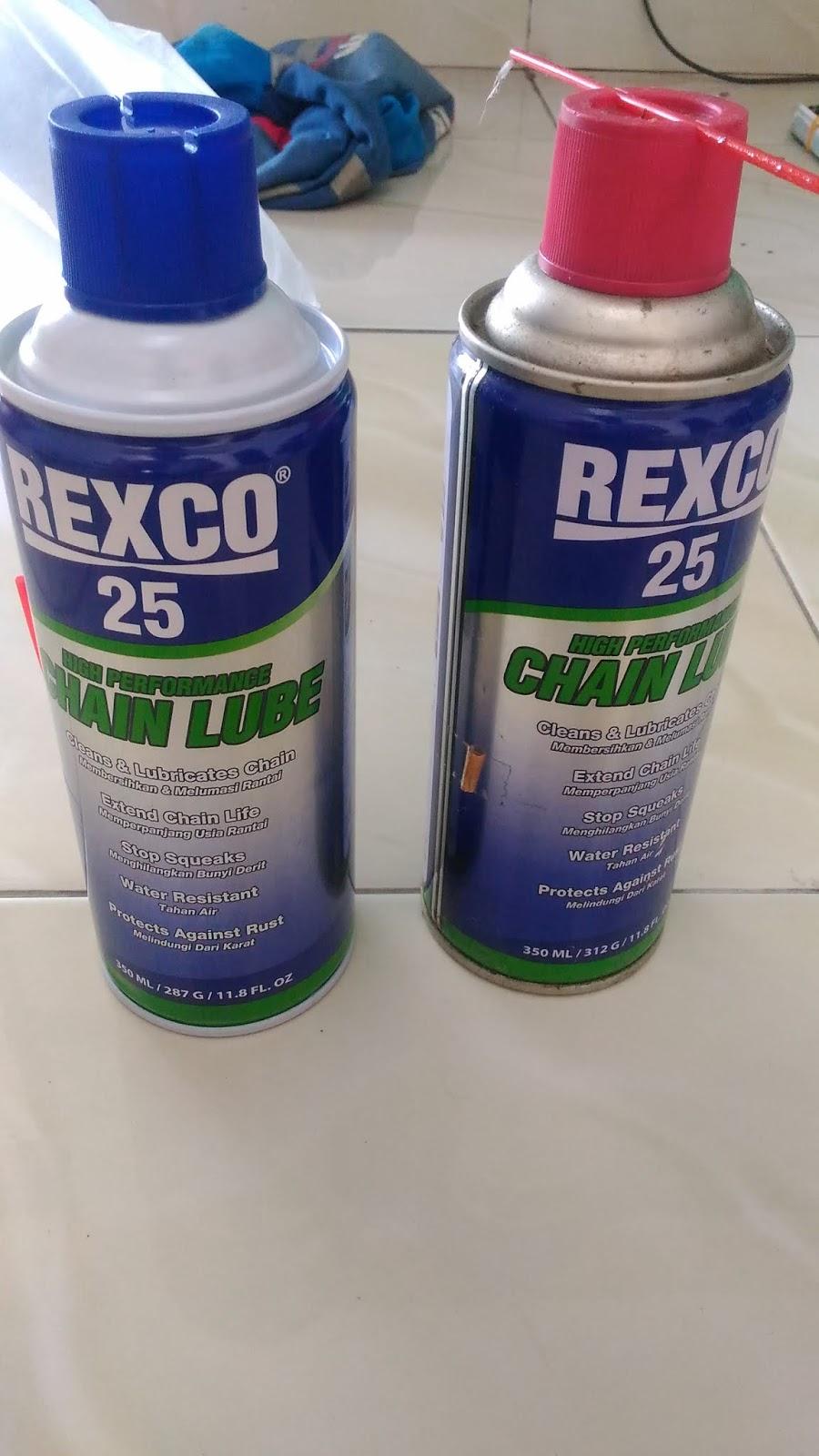 REXCO 25 ( Chain Lube ) dikomparasi merk lain, akibatnya konsisten OK punya