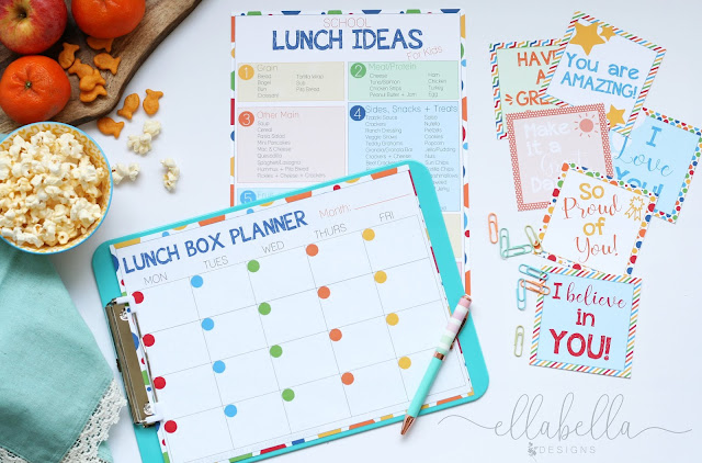 School Lunch Ideas for Kids free printables