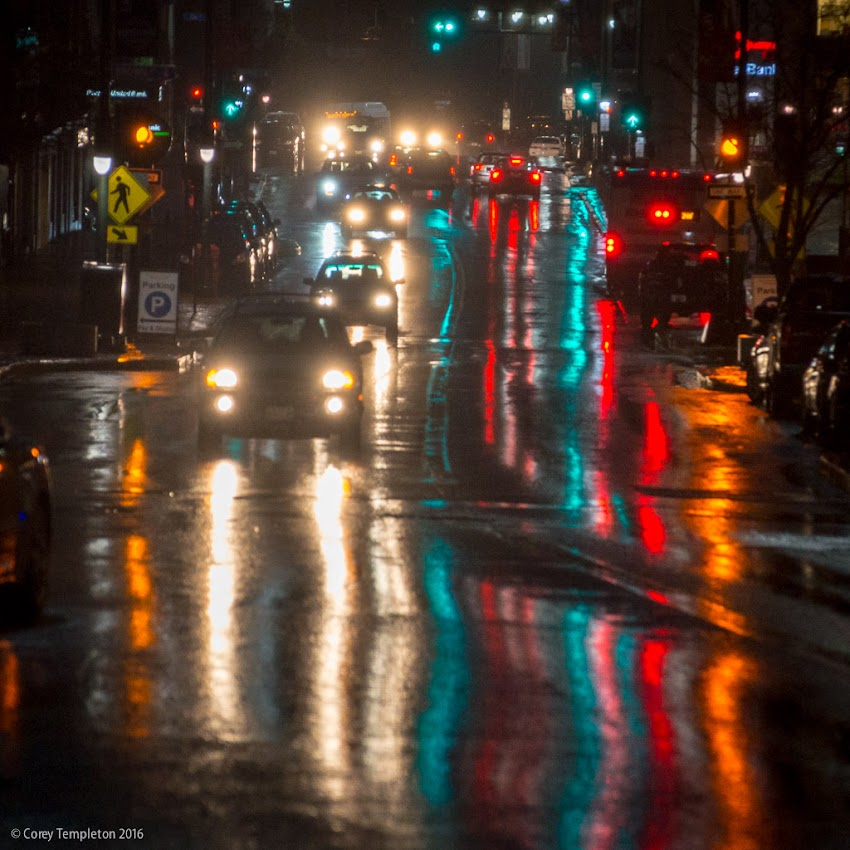 Portland, Maine USA March 2016 photo by Corey Templeton of rainy night reflections on Congress Street.