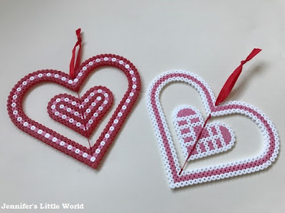 Hama bead spinning heart decoration