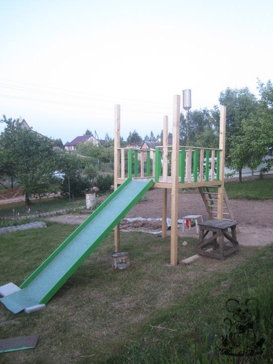 детский городок, деревянный каркас для детской площадки своими руками