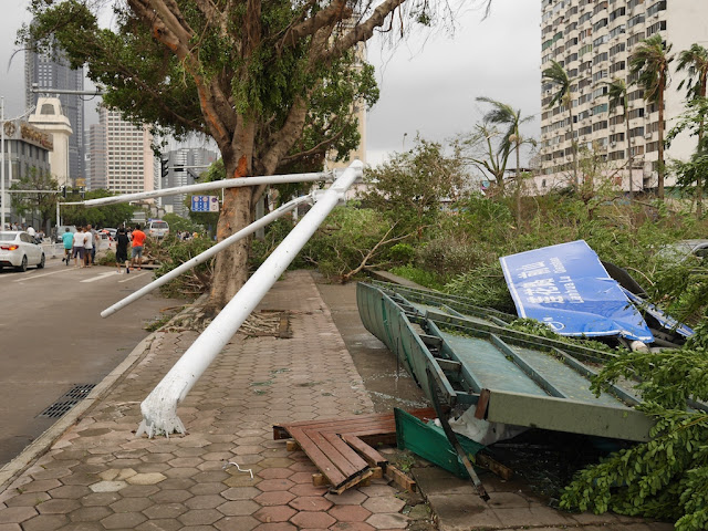 street sign collapsed due to Typhoon Hato in Zhuhai