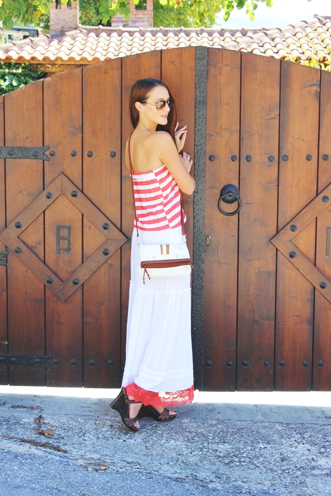 Maxi dress,Red & White Stripes