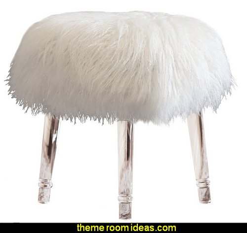 Lopez Cross Leg Stool  faux fur home decor  faux fur home decor - fuzzy furry decorations - Flokati - mink - plush - shaggy - faux flokati upholstery - super soft plush bedding - sheepskin - Mongolian lamb faux fur