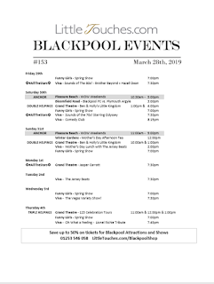 B2B Blackpool Hotelier Free Resource - Blackpool Shows and Events March 29 to April 4 - PDF What's On Guide Listings Print-off #153 Thursday March 28