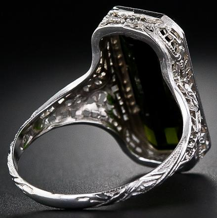 Tourmaline filigree ring, 1930's. Via Diamonds in the Library.