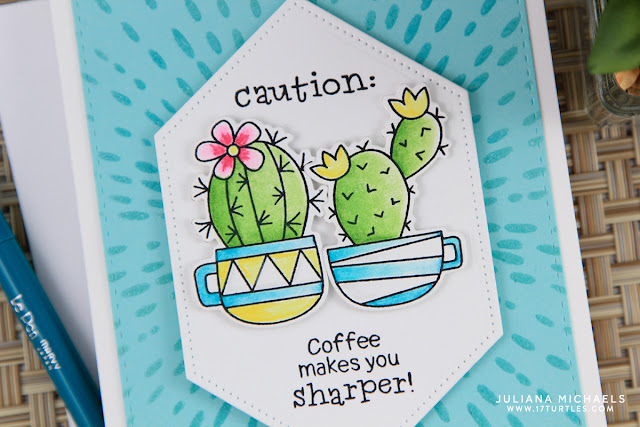 Caution Coffee Cactus Card by Juliana Michaels featuring Newton's Nook Designs Cuppa Cactus Stamp Set
