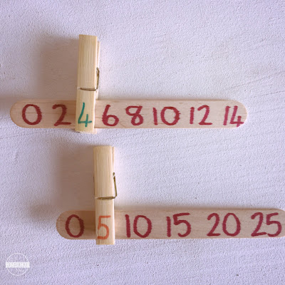 skip counting activity with craft sticks and clothes pins