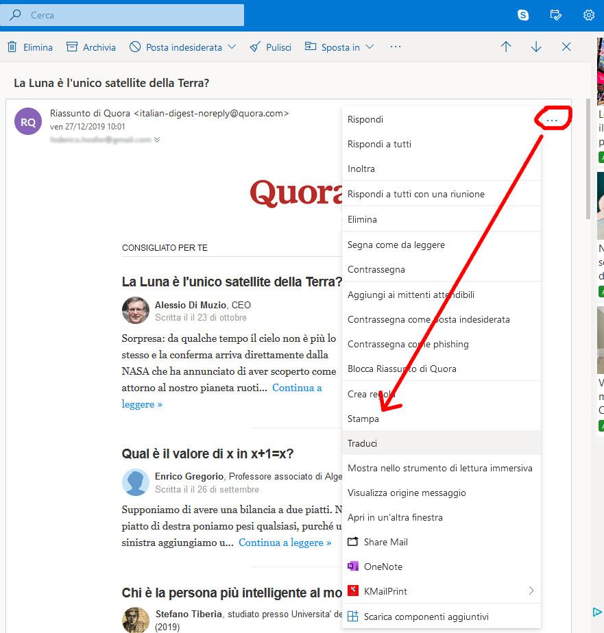 Stampare una mail in PDF