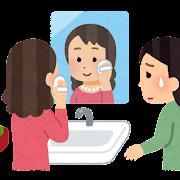 洗面台を占領する人のイラスト(女性)