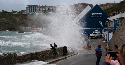 Man nearly swept into the sea in Newquay storm swell