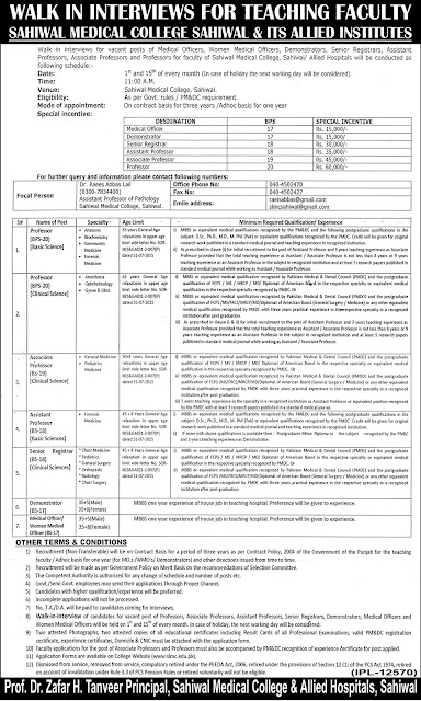 Doctors Jobs in Sahiwal Medical College & Allied Institutes