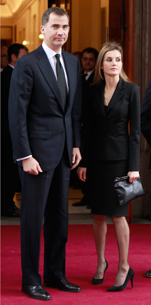 Prince Felipe and Princess Letizia of Spainattended the funeral chapel for former Spanish prime minister Adolfo Suarez