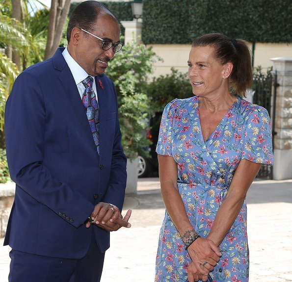 Princess Stephanie, Minister of Health and Social Affairs Didier Gamerdinger and the Mayor Georges Marsan