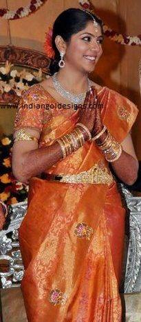Gold and Diamond jewellery designs: Karthi's wife ranjani in