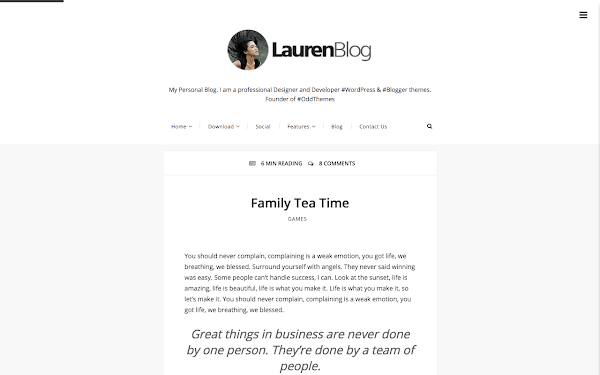 lauren free blogger template oddthemes