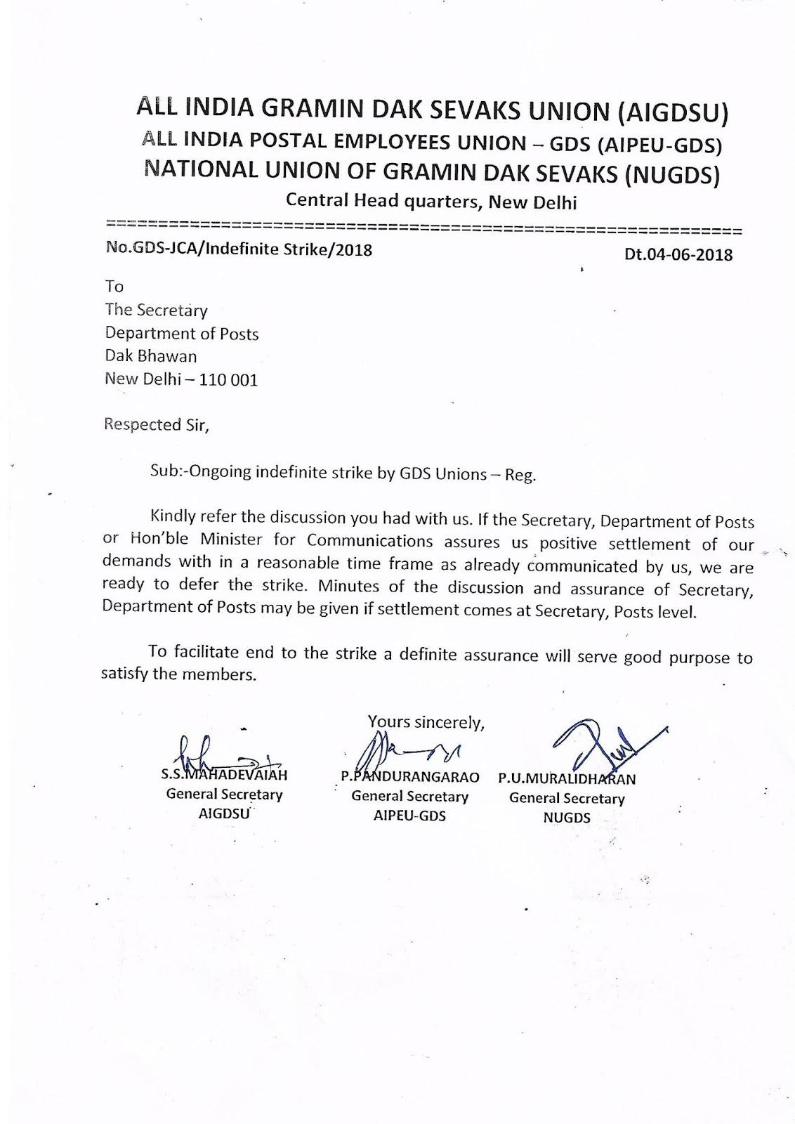 GDS JCA Letter to Secretary Posts