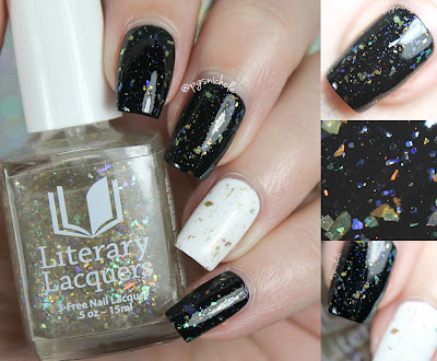 Literary Lacquers Passion (over black & white creams) | The Nailed Collection