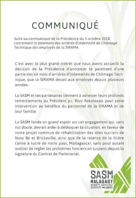 communiqué SASM Sirama présidence
