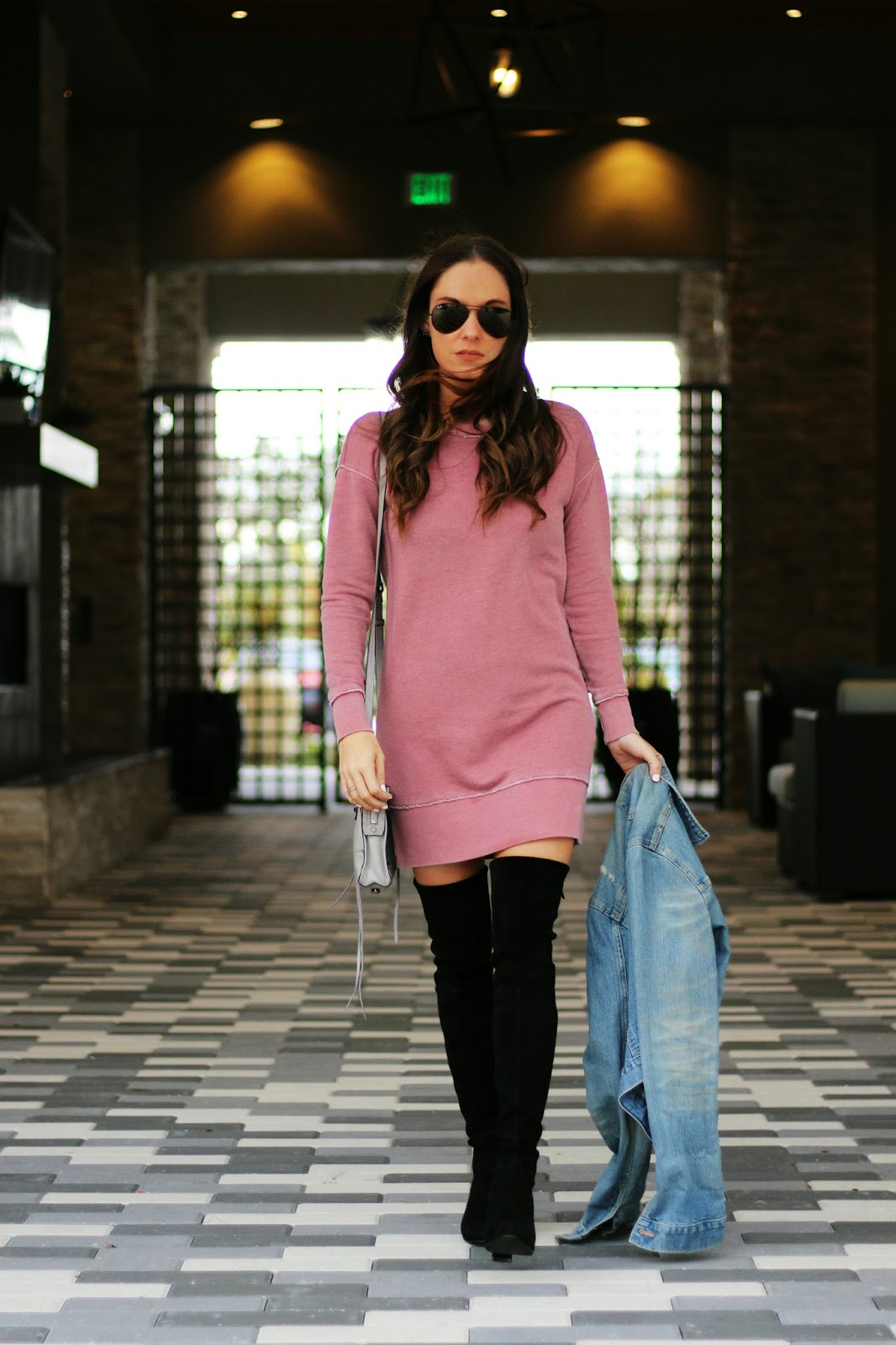 Sweatshirt dress with over the knee boots