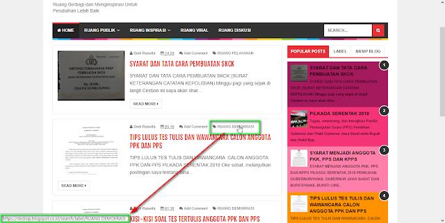 Cara menghubungkan Menu Navigasi dengan Link artikel atau Link lainnya di Blogger