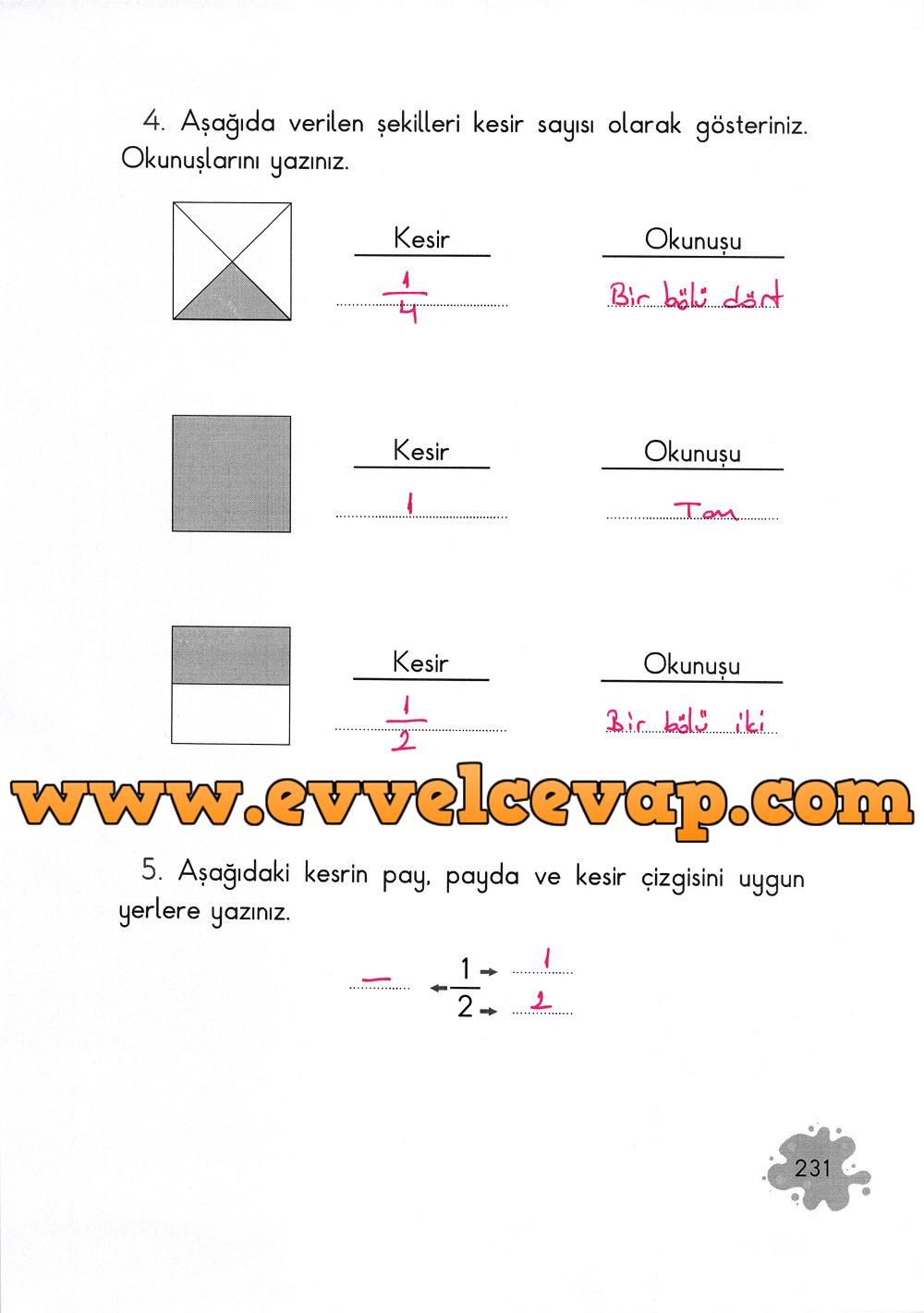 2. Sınıf Açılım Yayınları Matematik Ders Kitabı 231. Sayfa Cevapları