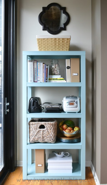Use a bookcase to add extra kitchen storage