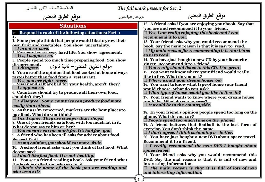 حمل احدث مراجعة ليلة الامتحان للصف الثانى الثانوى الترم الثاني ، مستر احمد سعيد