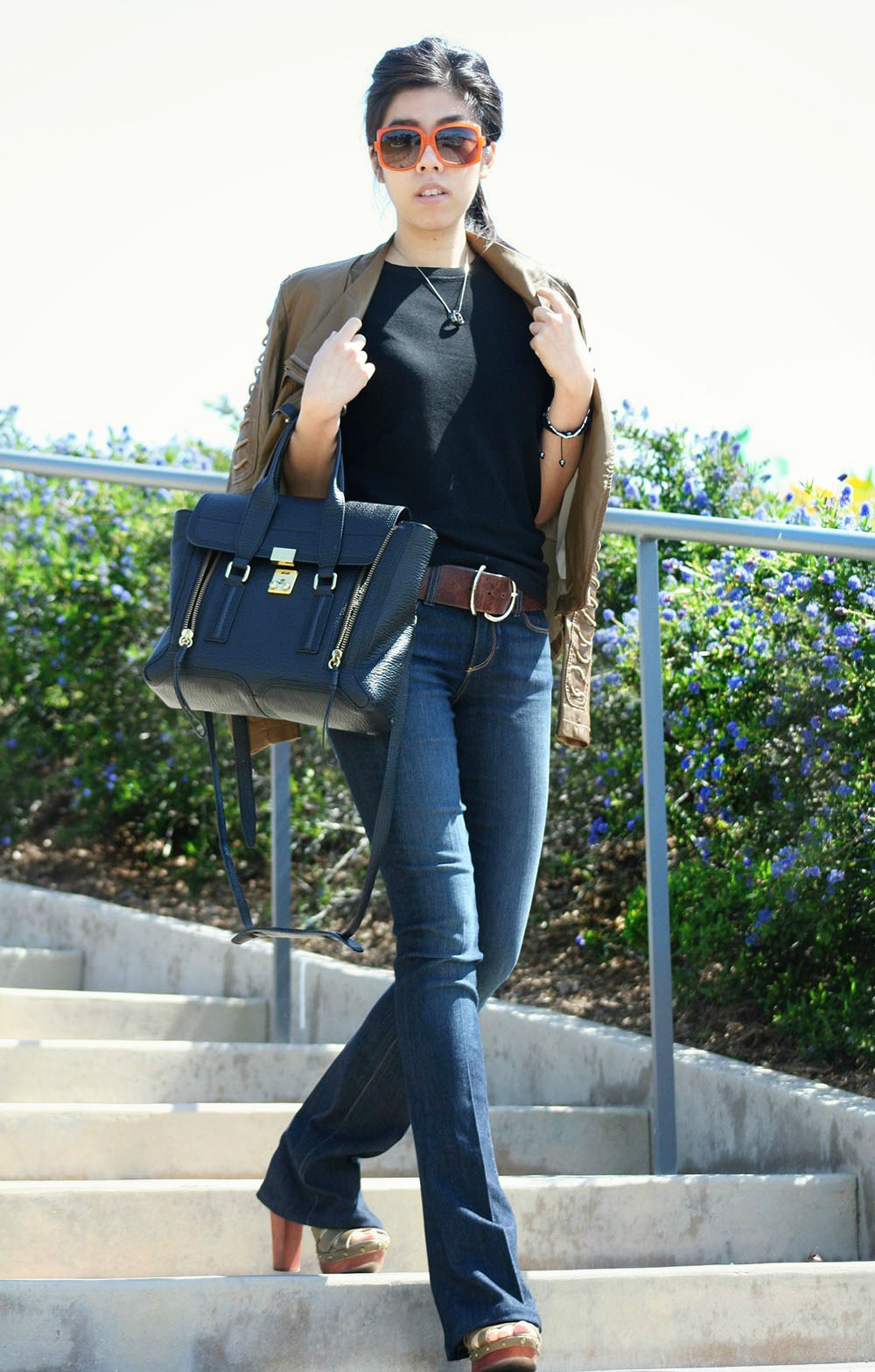 Adrienne Nguyen_Invictus_Vietnamese Fashion Blogger_How to wear a Black T Shirt with a Brown Motorcycle Jacket